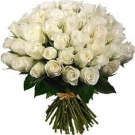 51 белая роза 80см