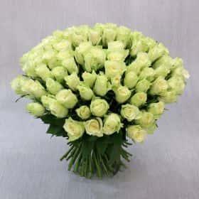 Букет из 101 белой розы 40 см. Люкс