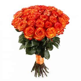 Букет Магия застывшего огня (35 роз)