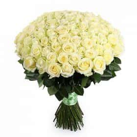 Букет 101 белая роза Аваланш
