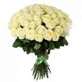 Букет 51 белая роза Аваланш
