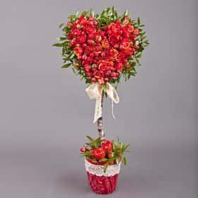 Цветочное дерево «Сердце алое»