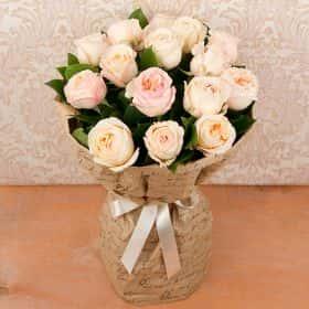 Букет из душистых роз «Канны» (15 шт.)
