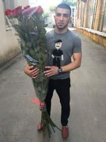 9 гигантских красных роз 170см