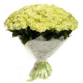 """Букет """"101 роза"""" белая (70см)"""