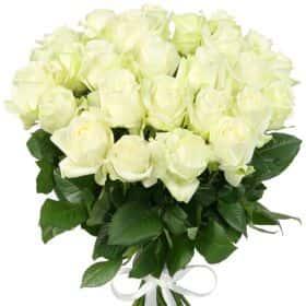 """Букет из 25 белых роз """"Аваланж"""""""