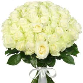 """Букет из 51 белой розы """"Аваланж"""""""