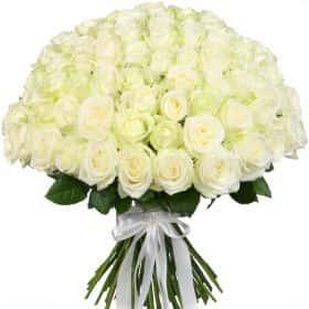 """Букет из 75 белых роз """"Аваланж"""""""