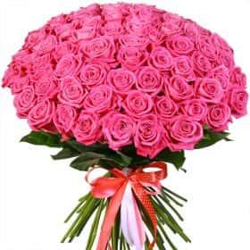 """Букет из 75 розовых роз """"Аква"""""""