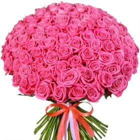 """Букет из 101 розовой розы """"Аква"""""""