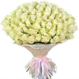 """Букет из 101 белой розы """"Атена"""""""