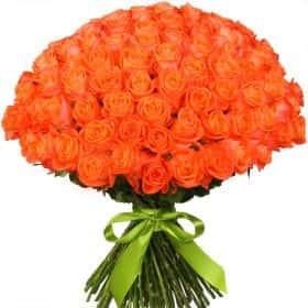 """Букет из 101 оранжевой розы """"Вау"""""""