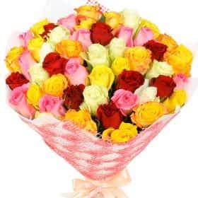 """Букет из 51 кенийской розы """"Микс"""""""