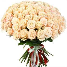 """Букет из 75 кремовых роз """"Талея"""""""