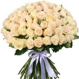 """Букет из 101 кремовой розы """"Талея"""""""