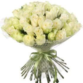 """Букет из 51 белой розы """"Атена"""""""