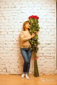 7 гигантских красных роз 200см