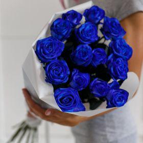 Букет из 15 натуральных синих роз 70-90 см