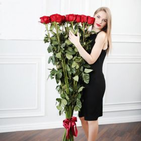 21 гигантская красная роза 170см