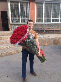 35 длинных роз 140 см