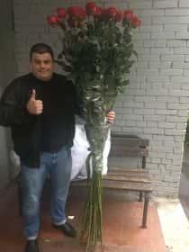 25 гигантских красных роз 200см