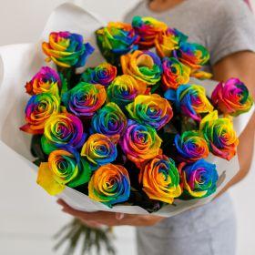 Букет из 25 радужных роз 70-90 см