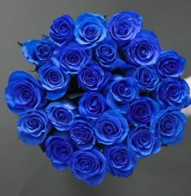 Букет из 25 натуральных синих роз 70-90 см