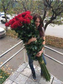 75 гигантских красных роз 160 см