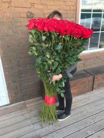 25 гигантских красных роз 160 см