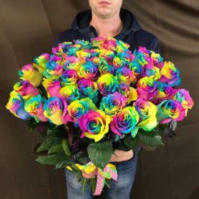 Букет из 51 радужной  розы  70-90 см