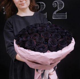 35 натуральных черных роз 70-90 см