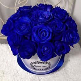 19 синих роз в малой шляпной коробке