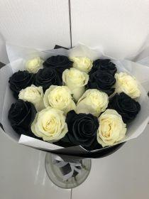 Черные розы 25 шт. микс