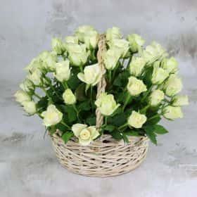 51 белая роза 40 см. в корзине VIP