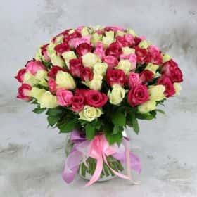 Букет из 101 белой и розовой розы 40 см. Cтандарт