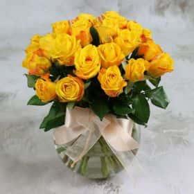 Букет из 25 желтых роз 40 см. Cтандарт