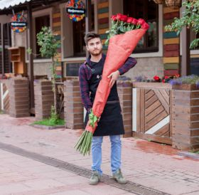19 гигантских красных роз 170см