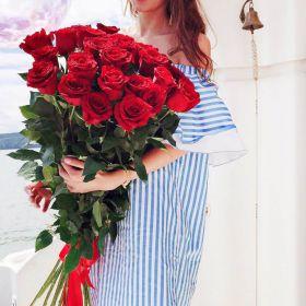 19 длинных роз 140 см