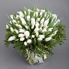 Букет «101 белый тюльпан»