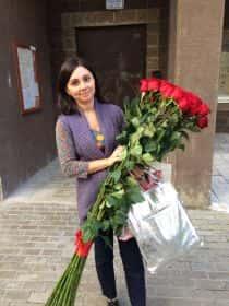 15 гигантских красных роз 150 см