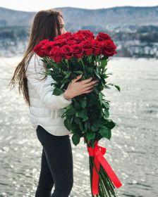 25 гигантских красных роз 150см