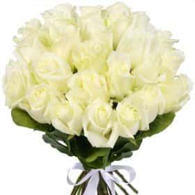 "Букет из 25 белых роз ""Вайт Шоколад"""