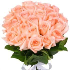 """Букет из 25 кремовых роз """"Ангажемент"""""""